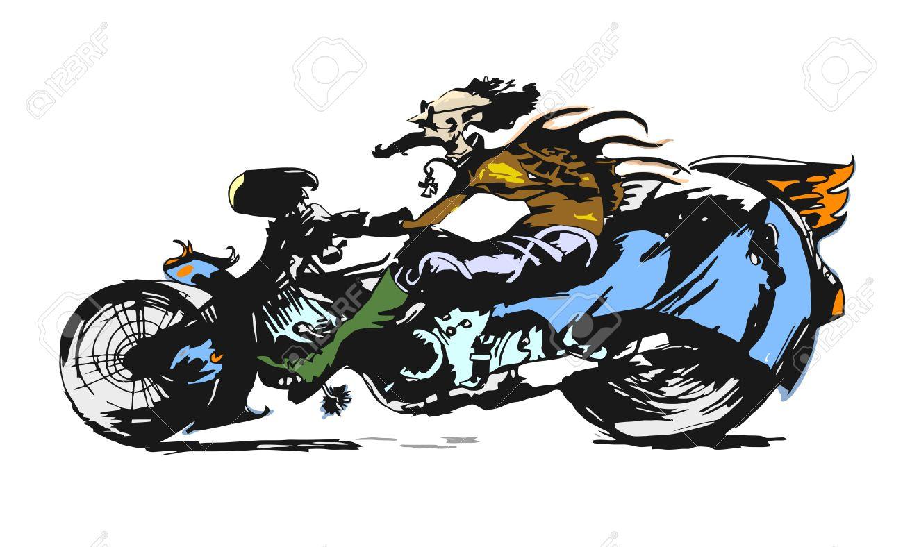 1300x788 Motorcycle Rider Character Cartoon Illustration Royalty Free