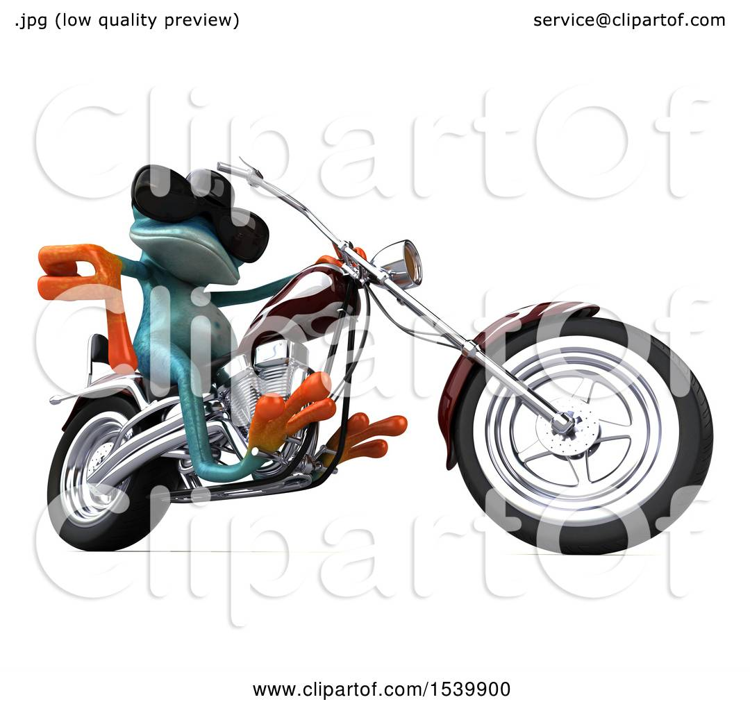 1080x1024 Clipart Of 3d Blue Frog Biker Riding Motorcycle Chopper, On