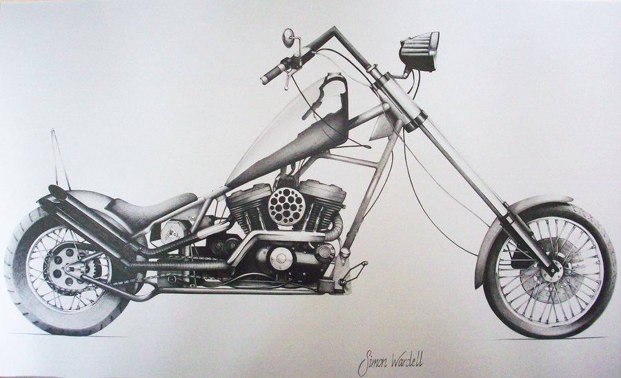 900x548 Harley Davidson Chopper By Simwar