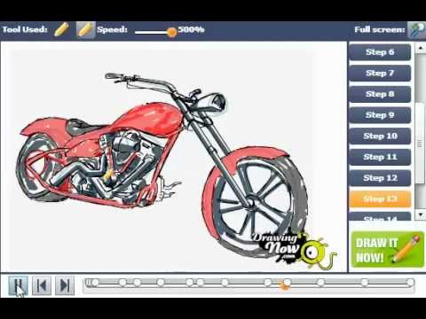 480x360 How To Draw A Chopper Motorcycle