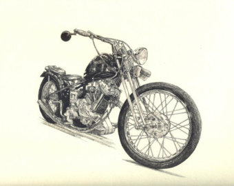 340x270 Motorcycle Drawing Etsy