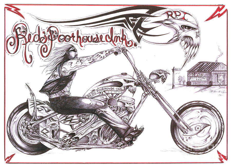 900x654 Red's Poor House 2 Drawing By Derek Hayes