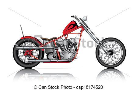 450x295 Red Custom Chopper On White Background Clip Art