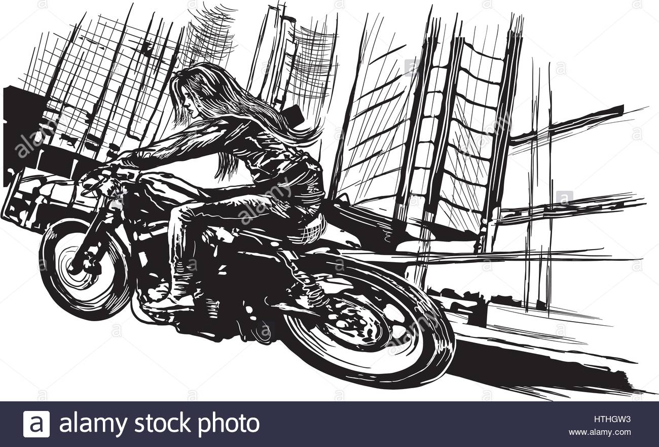 1300x881n Young Woman With Long Hair Riding Motorcycle, Fast Bike In