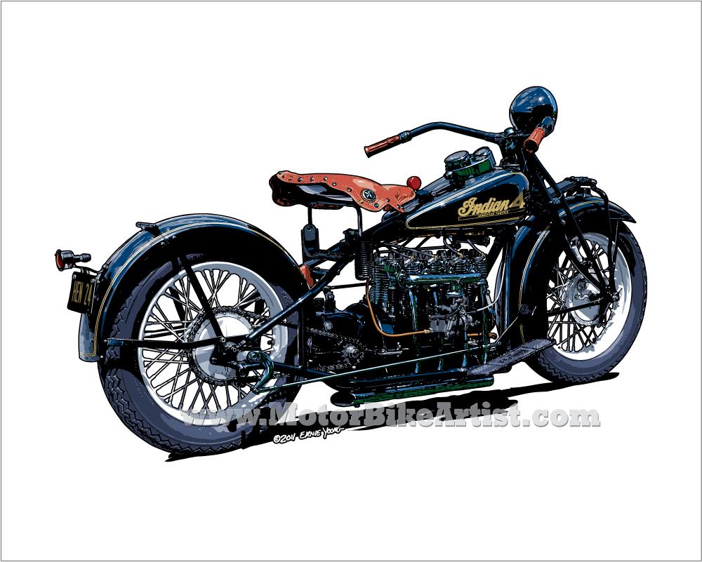1000x801 Indian Henderson 4 Motorcycle Drawing Bike Artflowww
