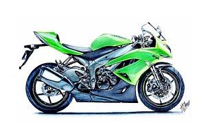 300x201 Japanese Motorcycle Drawings Fine Art America