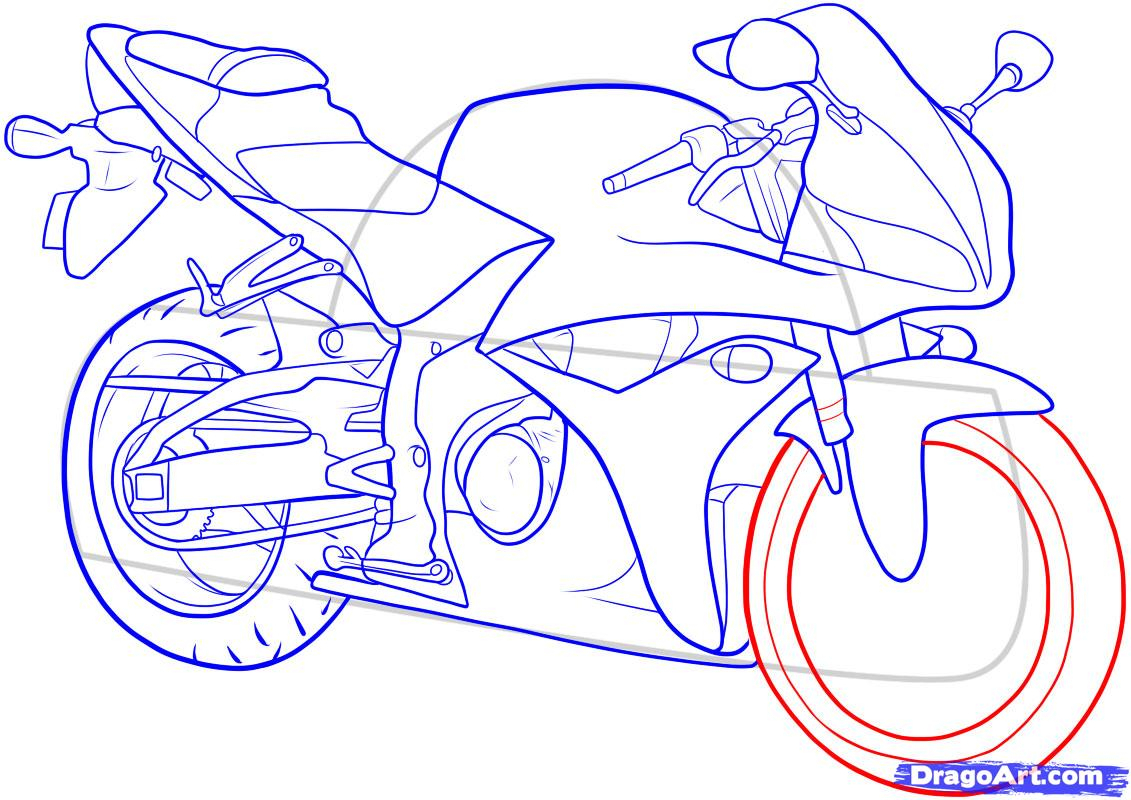 1131x800 Motorcycle Drawing Step By Step Pencil Drawings Motorcycles