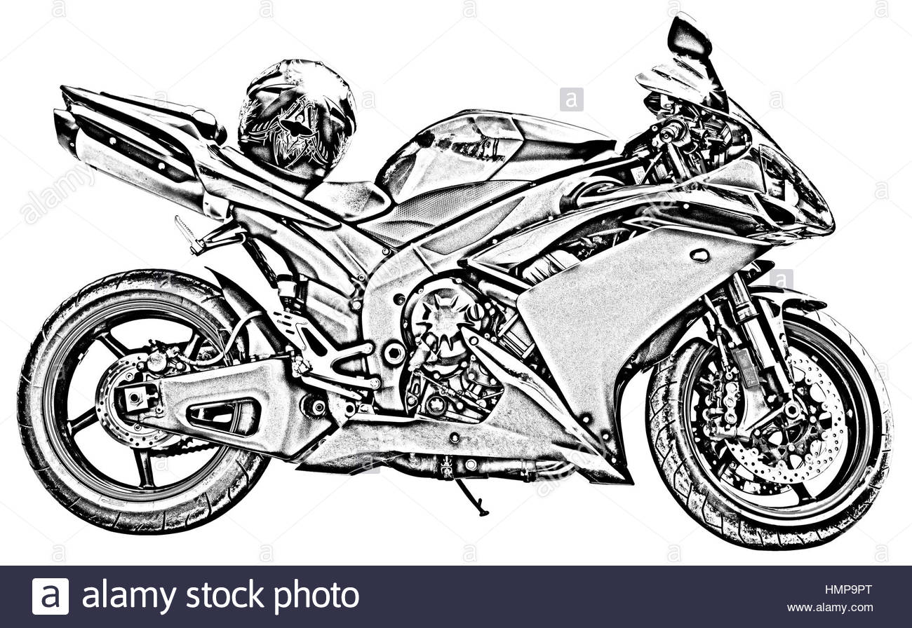 1300x896 Motorcycle Drawing On White Stock Photo 133256336