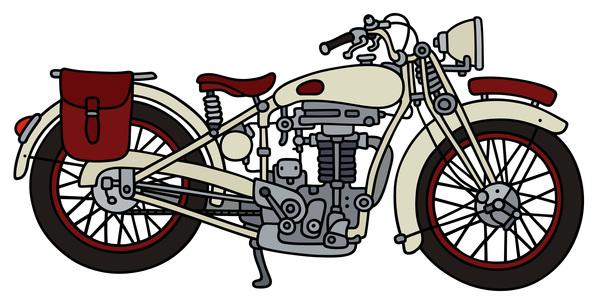 600x300 Rtero Motorcycle Drawing Vectors Material 06