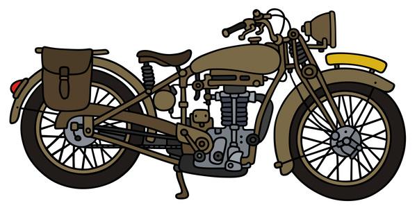 600x300 Rtero Motorcycle Drawing Vectors Material 09