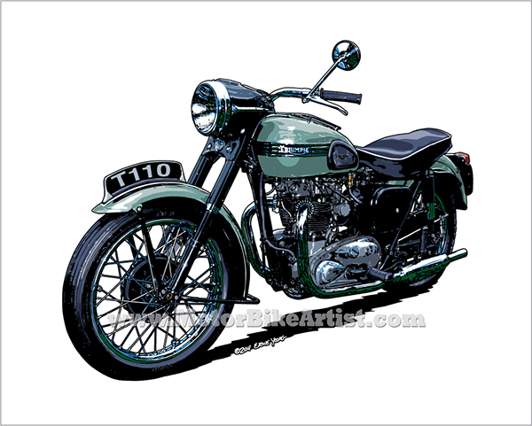 600x481 Triumph T110 Vintage Motorcycle Drawing Vector Art On Behance