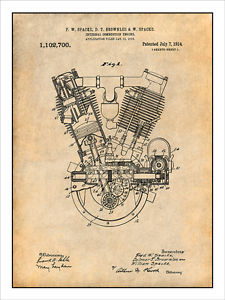 225x300 1914 Spacke V Twin Motorcycle Engine Patent Print Art Drawing
