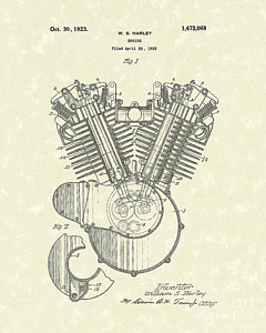 240x300 Harley Engine 1923 Patent Art Drawing By Prior Art Design