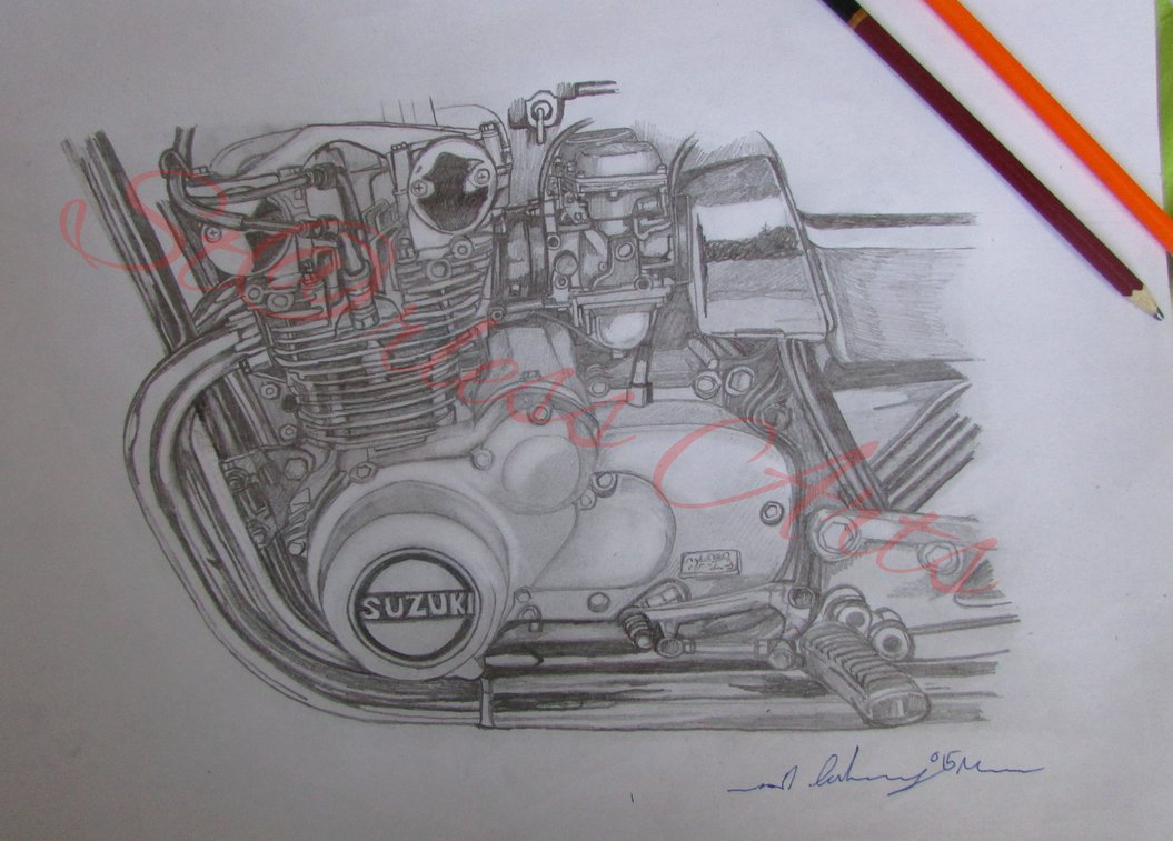 1055x757 Suzuki Gs Motorcycle Engine Drawing By Ivantremblac