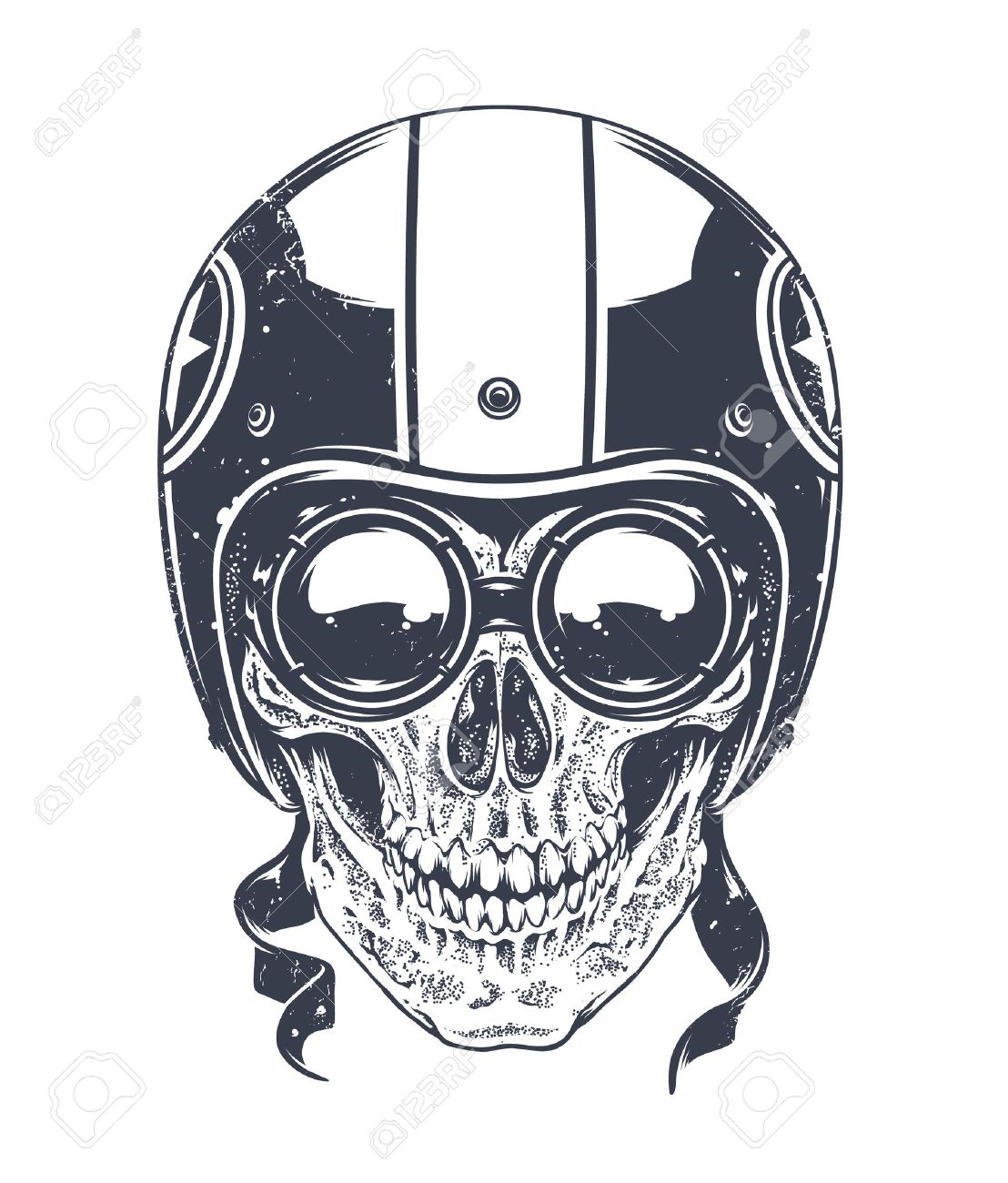 1108x1300 Dotwork Styled Rider Skull With Retro Glasses And Helmet. Vector