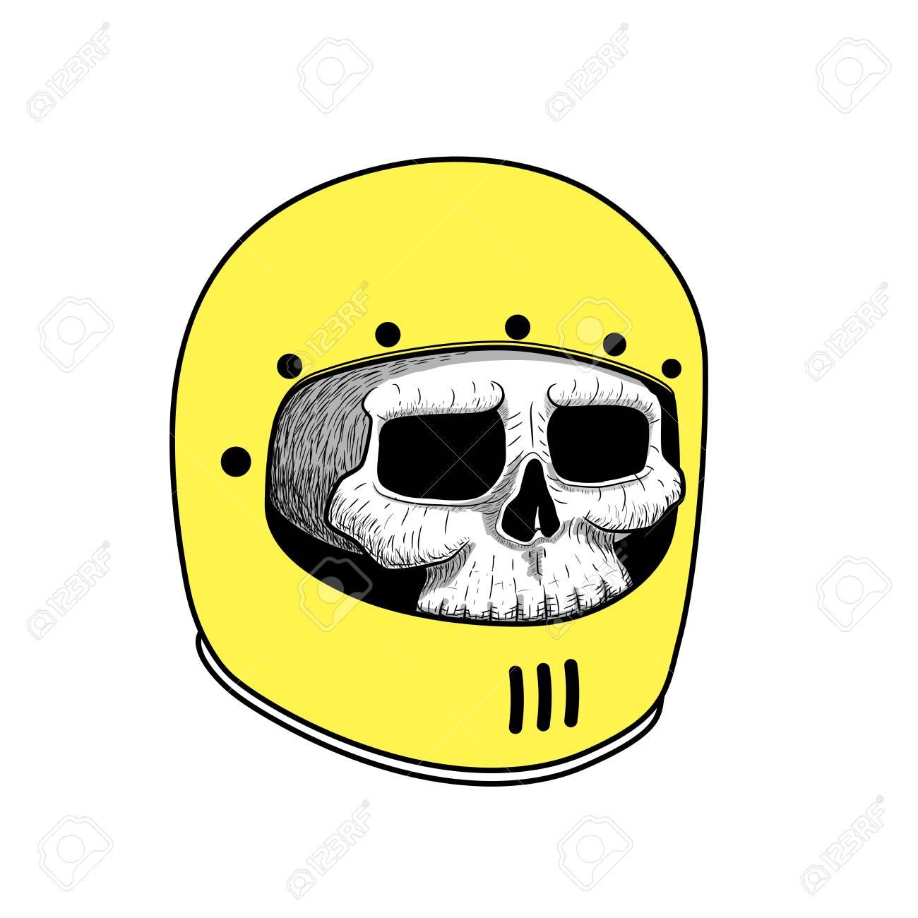 1300x1300 Hand Drawing Of Skull Wearing Motorcycle Helmet. Tattoo Graphic