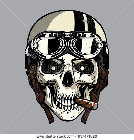 450x470 Hand Drawing Of Skull Wearing Motorcycle Helmet Artsy