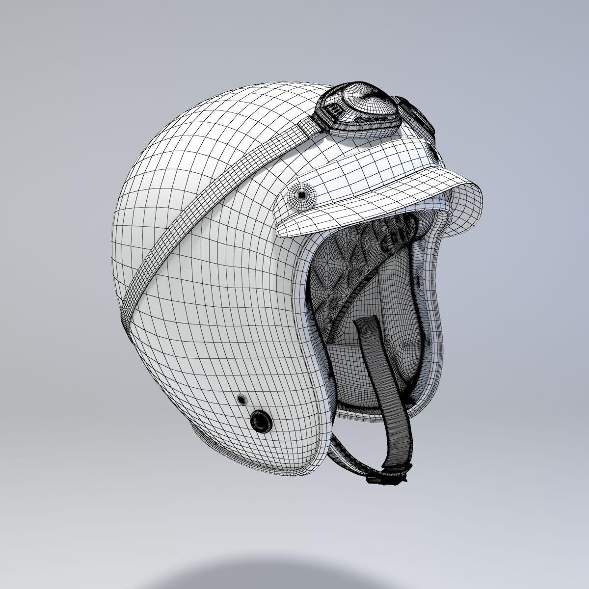1200x1200 White Retro Motorcycle Helmet 3d Model Cgtrader