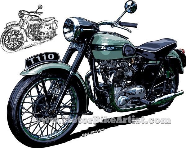 600x480 Triumph T110 Vintage Motorcycle Drawing My Inspirations