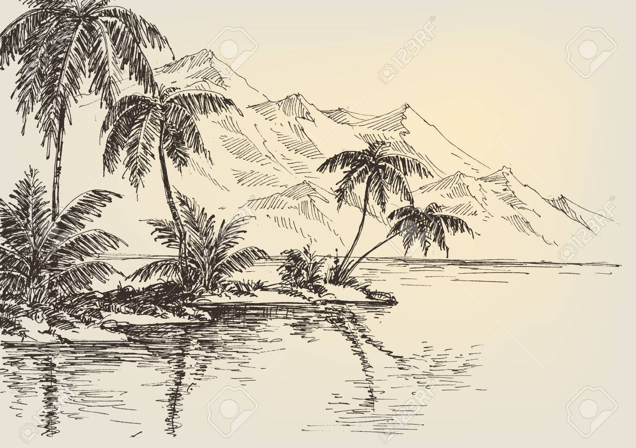 1300x915 Beach Drawing, Palm Trees And Mountains In The Background Royalty