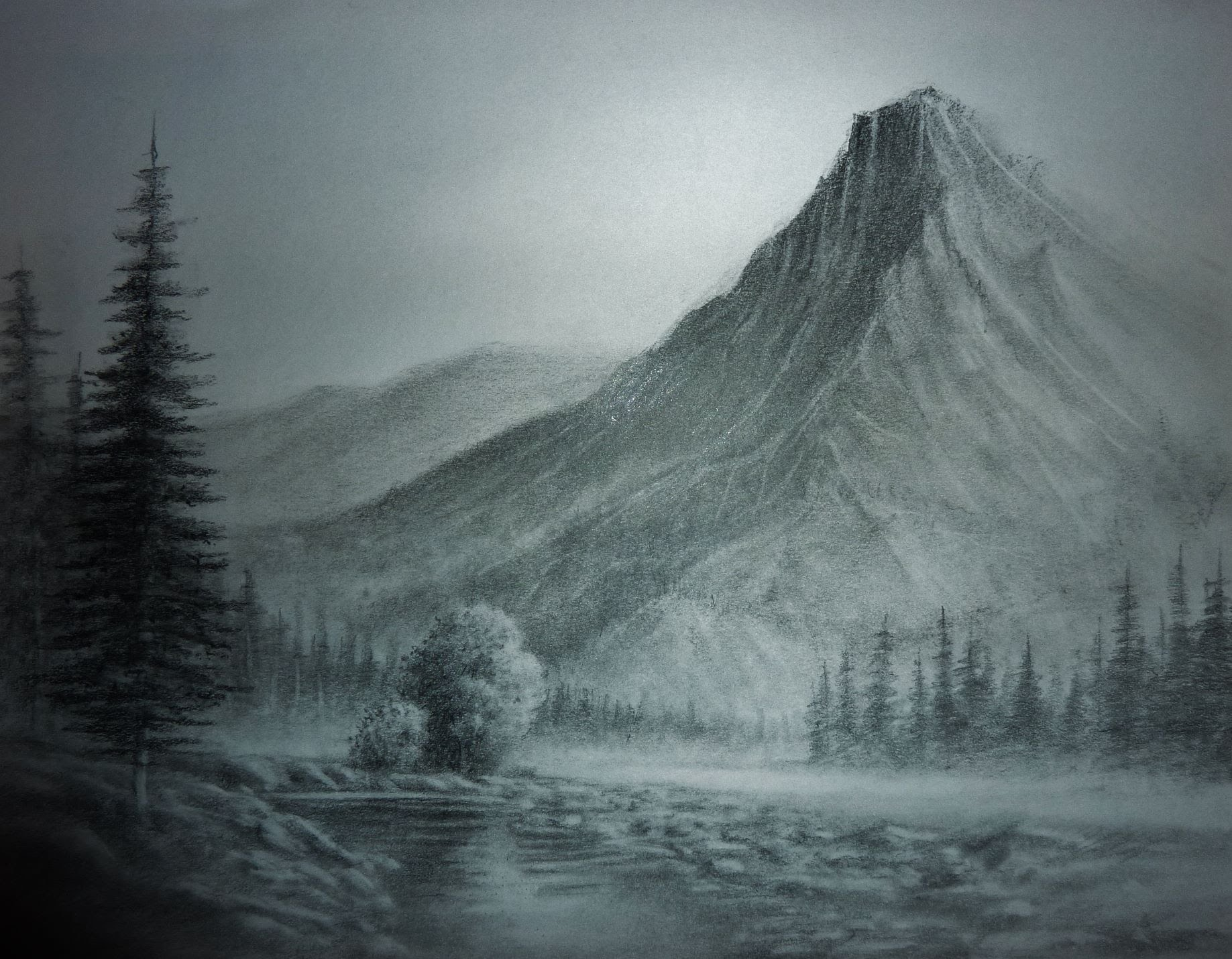 1837x1431 Landscape Pencil Drawings, Trees,buildings,mountains,water Etc