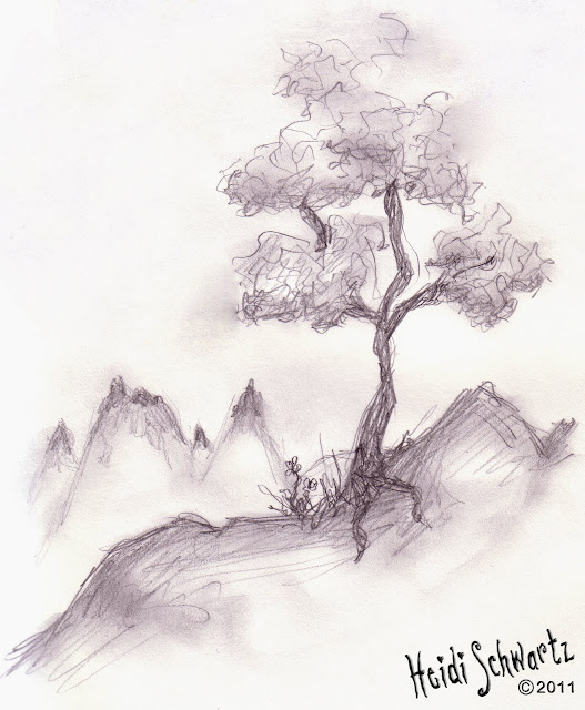 527x640 Mountain Tree Sketch. Love Details Of Drawing Especially