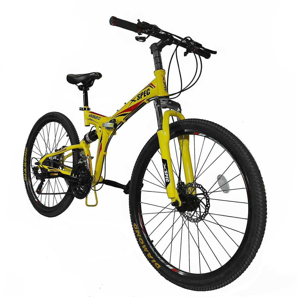 1200x1200 Yellow 26 Xspec 21 Speed Shimano Folding Mountain Bike