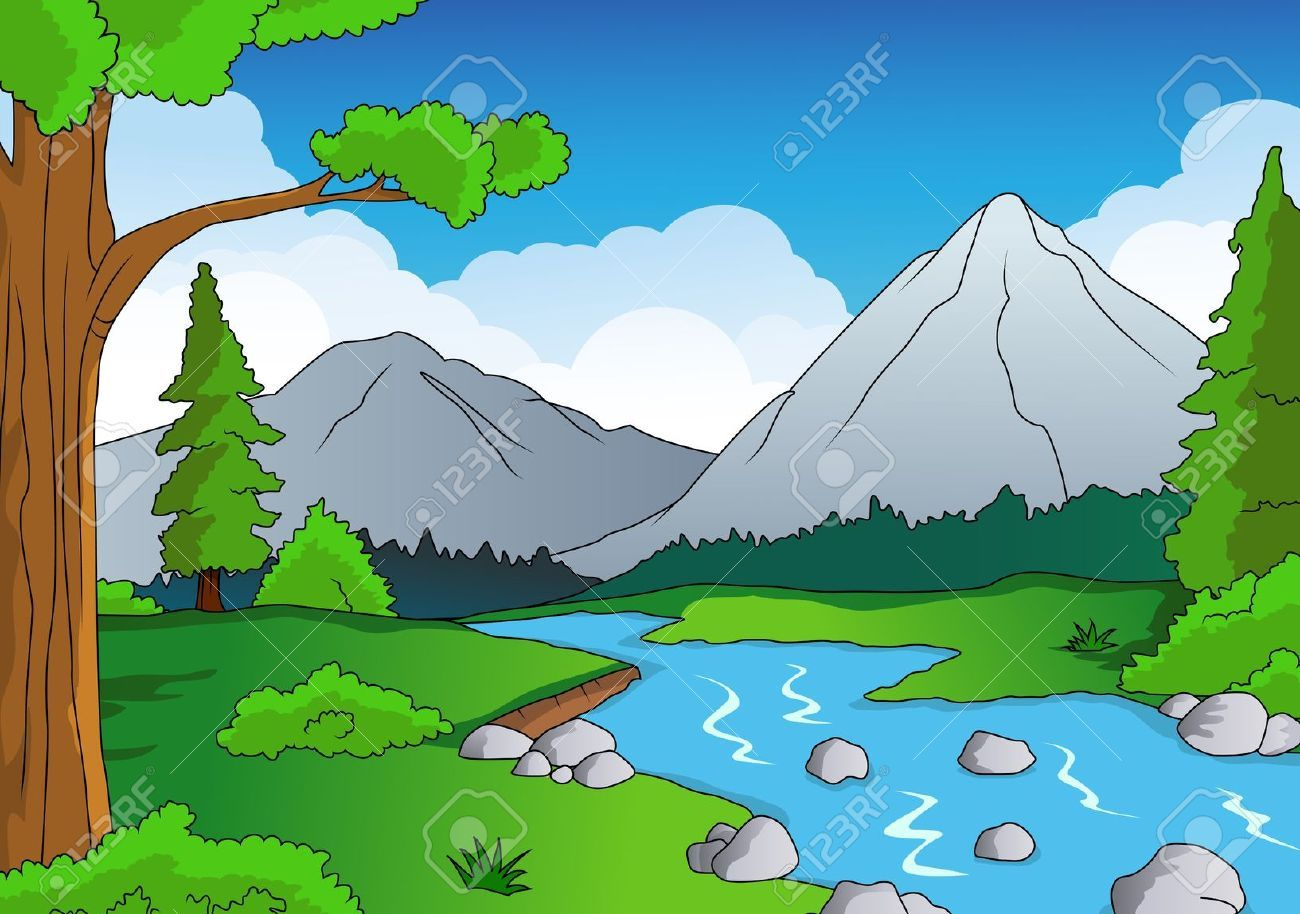 1300x914 Cartoon River Scene Forest Cartoon River Neato
