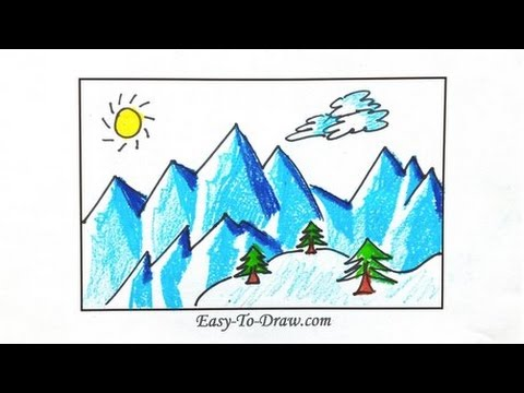 480x360 How To Draw Cartoon Snowy Mountains (Icebergs) Step By Step