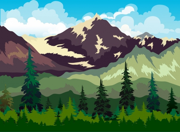 600x441 Mountain Landscape Drawing Multicolored Cartoon Design Free Vector