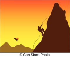 239x194 Illustration, Black Silhouette Of Mountain Climber Drawing