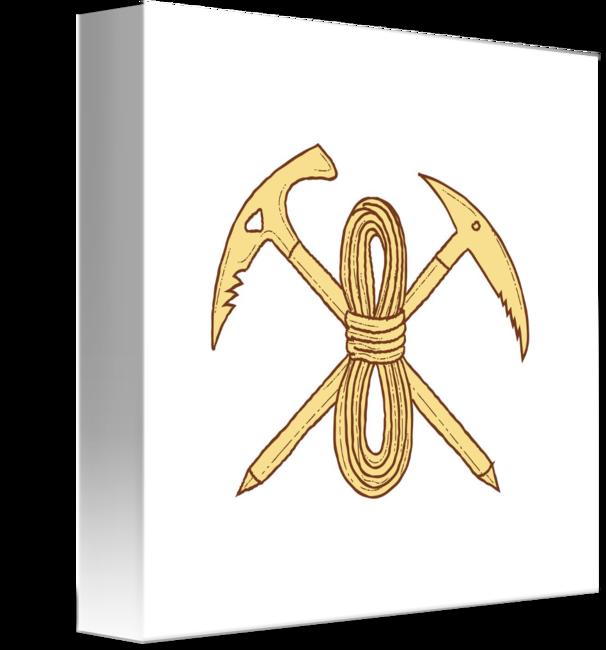 606x650 Mountain Climbing Pick Axe Rope Crossed Drawing By Aloysius Patrimonio
