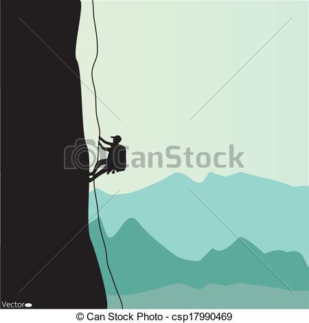 450x470 Mountain Climbing, Vector Illustration Clip Art Vector