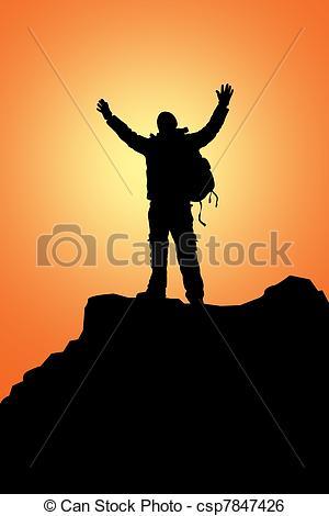 300x470 Rock Climbing. The Climber Has Reached Mountain Tops Stock