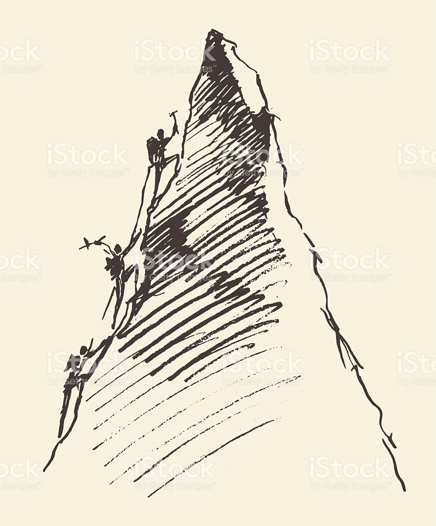 850x1024 Sketch Of A People Climbing On A Mountain Peak, Vector