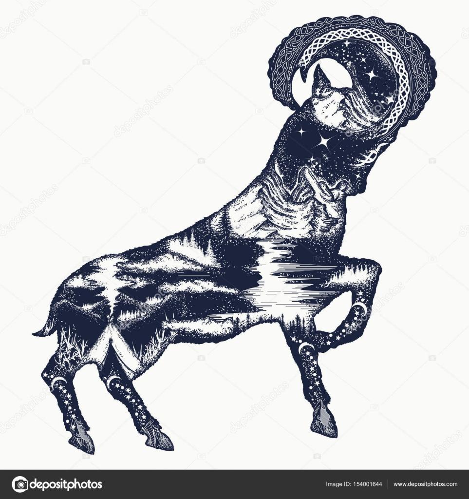 963x1024 Mountain Goat Double Exposure Tattoo Art And T Shirt Design