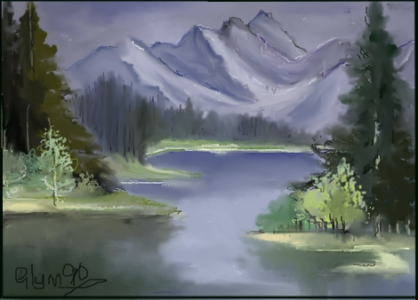470x338 Land Scape Mountain Lake. By Glynn90 (Landscapes Drawing)