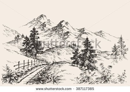 450x320 A Path In The Mountains Sketch Urban Sketches By Pencil