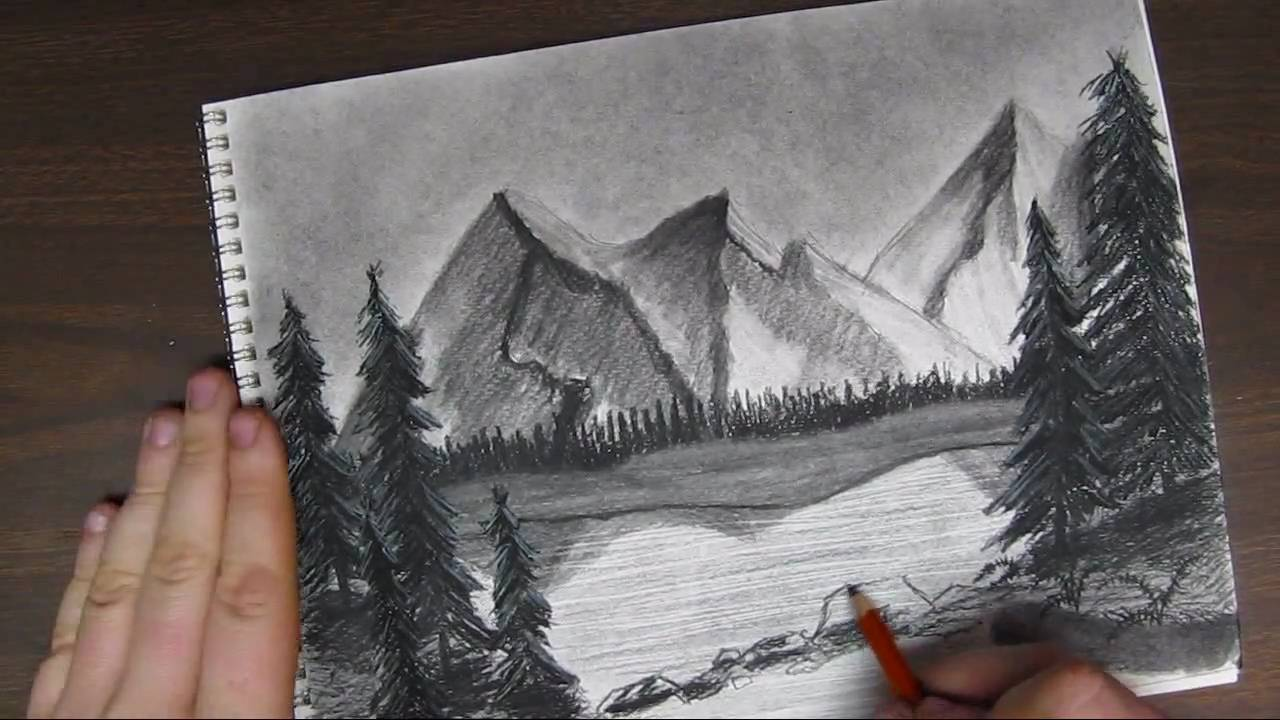 1280x720 How To Draw A Mountain Landscpape Tutorial Pt 3 Of 3