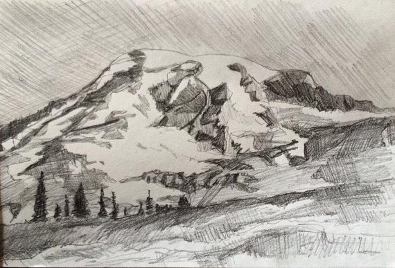 570x387 Mount Rainier Landscape Drawing Rainier Mountain Pencil