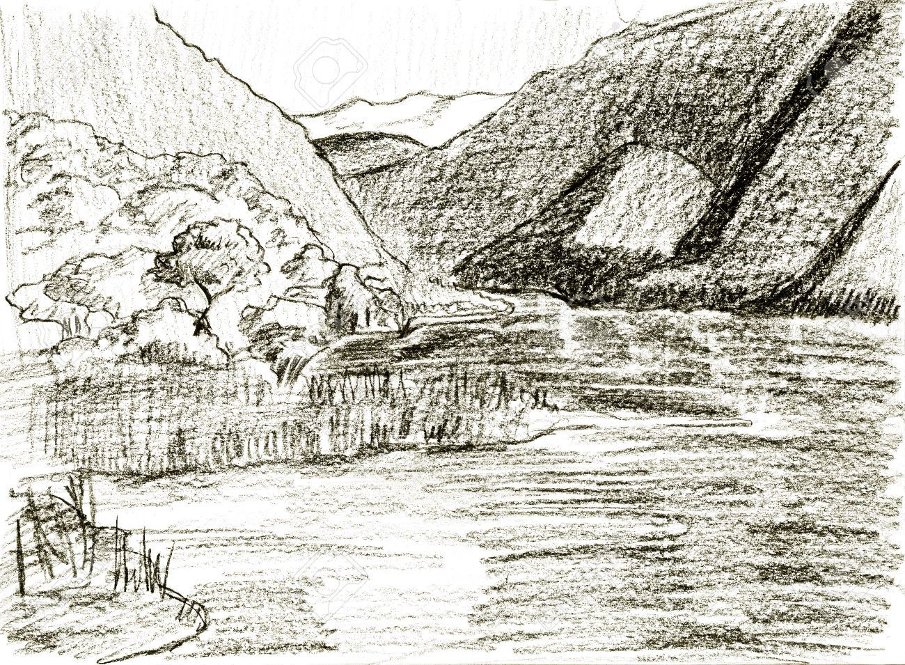 1300x955 Pencil Sketch Of Mountain Landscape Stock Photo, Picture