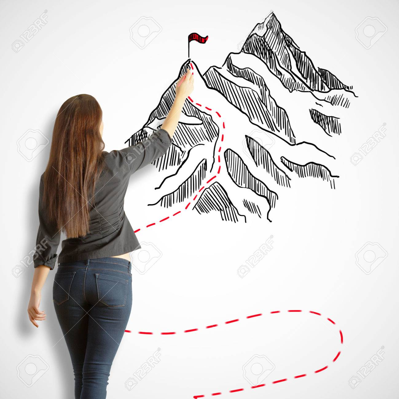 1299x1300 Back View Of Young Woman Drawing Mountains With Flag On White