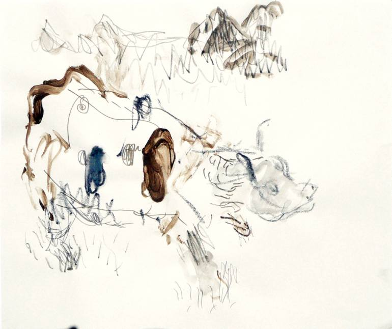 770x646 Saatchi Art Cow in Mountains Drawing by dale pesmen