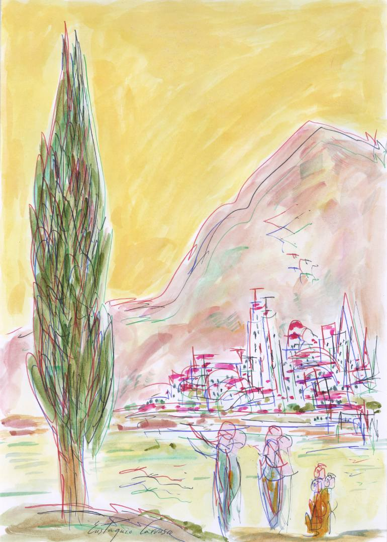 770x1080 Saatchi Art Cypress, Three People, River, City And Mountains
