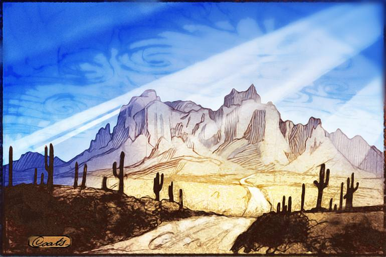 770x513 Saatchi Art Superstition Mountains Drawing by Will Coats