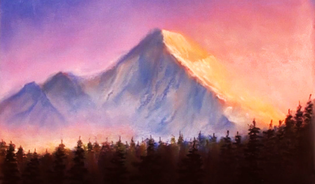 1078x630 Sunset mountains drawing with soft pastels Dilip Realistic