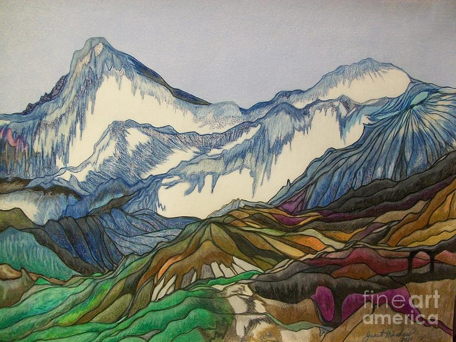 900x675 Those Majestic Mountains Drawing By Janet Hinshaw