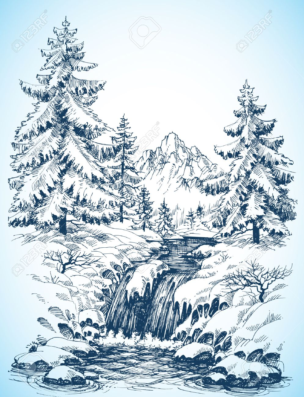 995x1300 Winter Snowy Landscape, Pine Forest And River In The Mountains