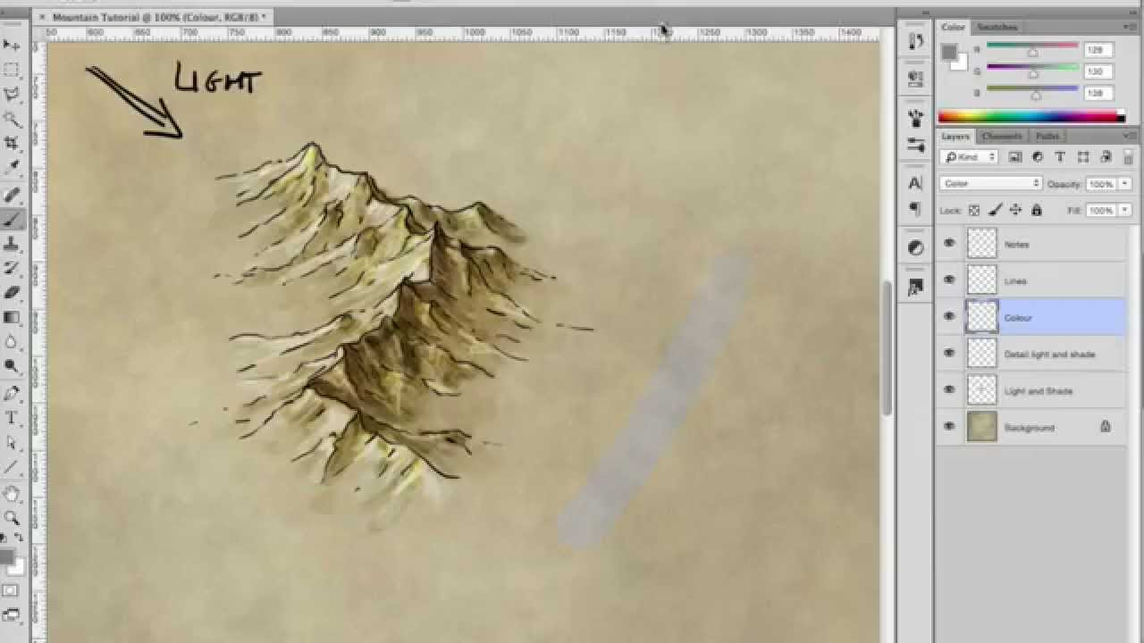 1280x720 How To Draw, Shade, And Colour A Mountain Range