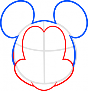 291x302 How To Draw Mickey Mouse For Kids Step 3 Disney World